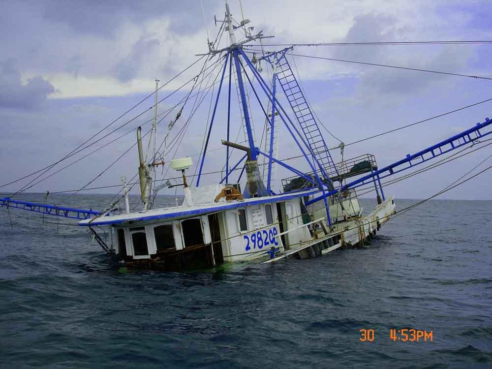 Shrimp boat sank off the coast